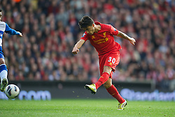 LIVERPOOL, ENGLAND - Saturday, October 20, 2012: Liverpool's 'Suso' Jesus Joaquin Fernandez Saenz De La Torre in action against Reading during the Premiership match at Anfield. (Pic by David Rawcliffe/Propaganda)