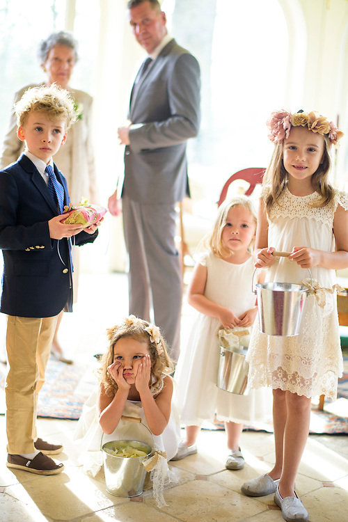 Annapolis, Maryland - April 18, 2015: The ring bearer and flower girls moments before the procession. (L-R) Charlie Wright, Salem North, Kate Hamlin, and Ali Shearer. Stephanie Shearer Cate and Winston Bao Lord wed at their friends Jeff and Marry Zients' house in Annapolis, Maryland, Saturday April 18, 2015. <br /> <br /> <br /> CREDIT: Matt Roth for The New York Times<br /> Assignment ID: 30173318A