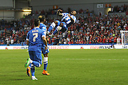 Kazenga LuaLua (30) celebrates with a backflip after scoring Brightons opening goal during the Sky Bet Championship match between Brighton and Hove Albion and Nottingham Forest at the American Express Community Stadium, Brighton and Hove, England on 7 August 2015. Photo by Geoff Penn.