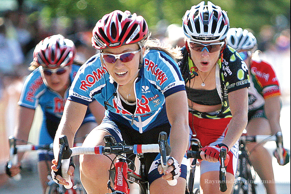 Women racing in the Pro/Elite class of the 86 mile Nature Valley Grand Prix in Mankato make their laps around downtown in the last portion of the road race.