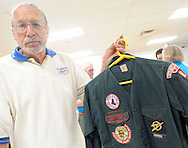 Bruce Strock of Springtown, Pennsylvania shows his scout uniform from the late 50's during Ockanickon Scout Reservation's 75th anniversary celebration Saturday, June 18, 2016 in Pipersville, Pennsylvania.   (Photo by William Thomas Cain)