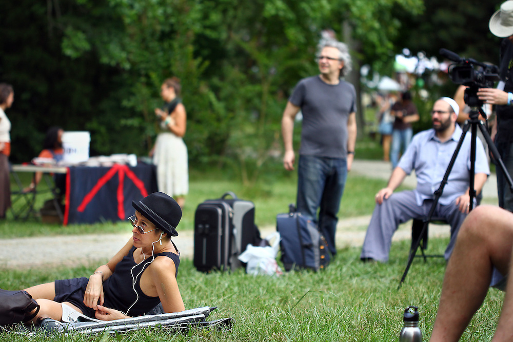 Michelle Shocked, bottom left, participates as a festival attendee before performing at the Wild Goose Festival at Shakori Hills in North Carolina June 23, 2011.  (Photo by Courtney Perry)