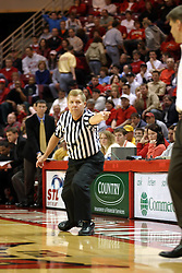 08 January 06  Referee awards a timeout to coach Porter Moser.....The Illinois State Redbirds come up short against the Witchita State Shockers.  The Shockers put on a 2nd half show that left the Redbirds trailing 56 - 47 at the bell.  Dana Ford of the Redbirds matched his career high with 16 points, adding 7 boards and 4 steals.....Redbird Arena, Illinois State University  campus, Normal, Illinois
