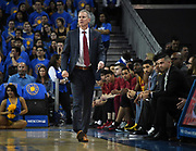 Feb 28, 2019; Los Angeles, CA, USA; Southern California Trojans head coach Andy Enfield reacts in the first half against the UCLA Bruins at Pauley Pavilion. UCLA defeated USC 93-88 in overtime.
