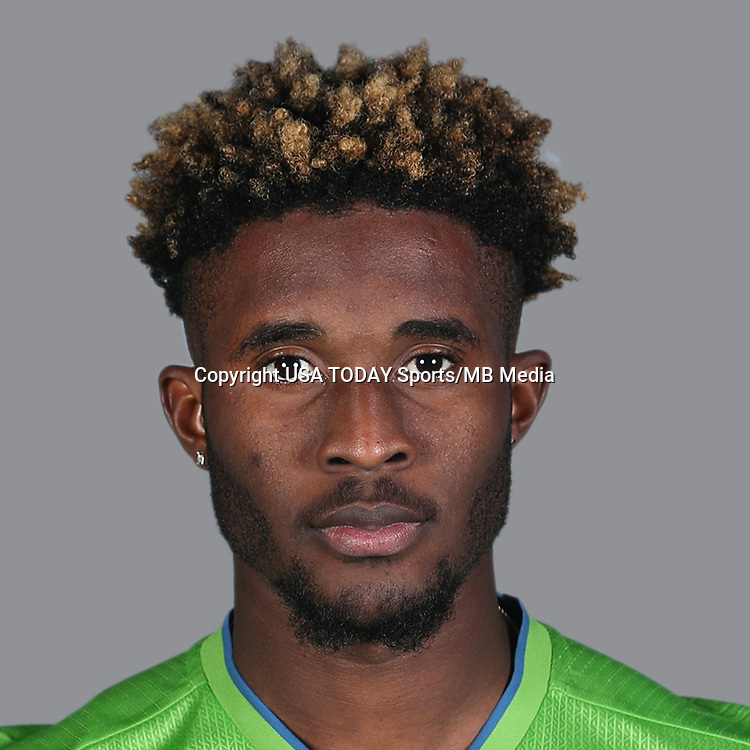 Feb 25, 2017; USA; Seattle Sounders FC player Oniel Fisher poses for a photo. Mandatory Credit: USA TODAY Sports