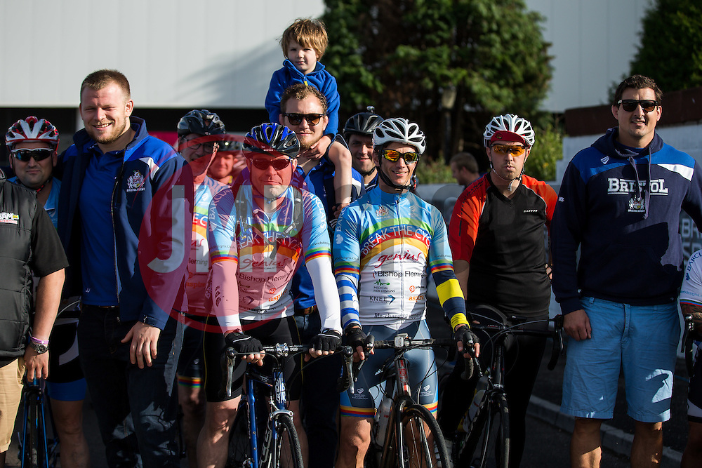Members of Bristol Rugby pose with starters as Cyclists take part in Break The Cycle, a 111 mile charity bike ride organised by the Bristol Rugby and Gloucester Rugby Community Foundations - Mandatory byline: Rogan Thomson/JMP - 03/07/2016 - CYCLING - Ashton Gate Stadium - Bristol, England - Break The Cycle Challenge 2016.