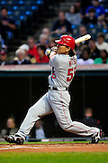 Sept. 15, 2010; Cleveland, OH, USA; Los Angeles Angels designated hitter Hideki Matsui (55) hits a triple during the second inning against the Cleveland Indians at Progressive Field. Mandatory Credit: Jason Miller-US PRESSWIRE