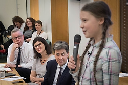 Environment Secretary Michael Gove (left), Former Labour leader Ed Miliband (2nd right) and Swedish climate activist Greta Thunberg (right) at the House of Commons in Westminster, London, to discuss the need for cross-party action to address the climate crisis.