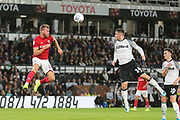 Bristol City defender Tomas Kalas (22) wins a header against Derby County forward Jack Marriott (14) during the EFL Sky Bet Championship match between Derby County and Bristol City at the Pride Park, Derby, England on 20 August 2019.