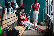 Holy Redeemer catcher Tom Borum sits in the dugout during the PIAA Class 3A baseball championship game against Central High School at Medlar Field at Penn State on Thursday, June 15, 2017.<br />