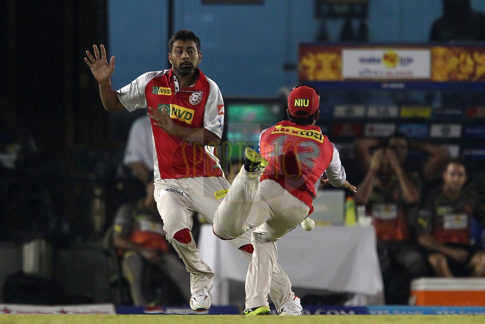 Praveen Kumar and Sandeep Sharma nearly clash and the catch is dropped during match 59 of of the Pepsi Indian Premier League between The Kings XI Punjab and the Sunrisers Hyderabad held at the PCA Stadium, Mohal, India  on the 11th May 2013..Photo by Ron Gaunt-IPL-SPORTZPICS ..Use of this image is subject to the terms and conditions as outlined by the BCCI. These terms can be found by following this link:..http://www.sportzpics.co.za/image/I0000SoRagM2cIEc