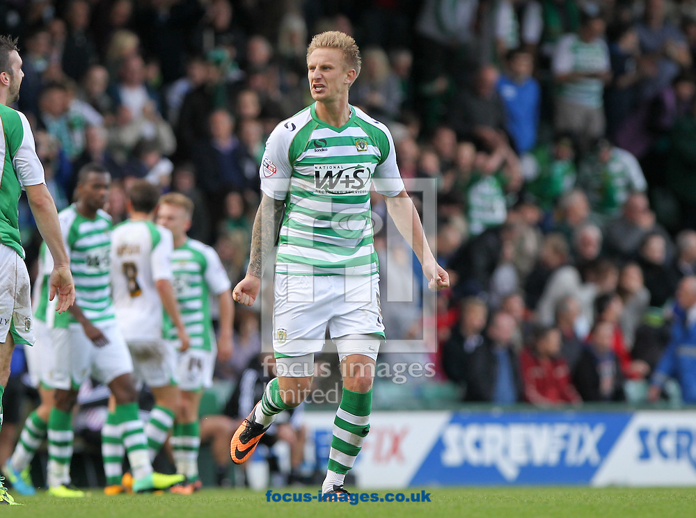 Picture by Tom Smith/Focus Images Ltd 07545141164<br /> 26/10/2013<br /> Byron Webster of Yeovil Town celebrates scoring his  sides third goal during the Sky Bet Championship match at Huish Park, Yeovil.