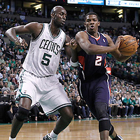 10 May 2012: Atlanta Hawks shooting guard Joe Johnson (2) drives past Boston Celtics power forward Kevin Garnett (5) during the Boston Celtics 83-80 victory over the Atlanta Hawks, in Game 6 of the Eastern Conference first-round playoff series, at the TD Banknorth Garden, Boston, Massachusetts, USA.