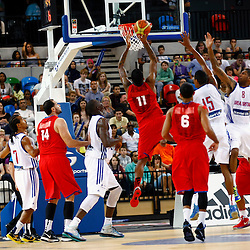 GB men vs Puerto Rico basketball at the Copper Box Arena.Chris Gaston (11) dunks. 11/08/2013 (c) MATT BRISTOW