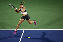 DUBAI-, Feb. 24, 2019  Petra Kvitova of the Czech Republic returns a shot during the women's singles final match between Belinda Bencic of Switzerland and Petra Kvitova of the Czech Republic at Dubai Duty Free Tennis WTA Championships 2019 in Dubai, the United Arab Emirates, Feb. 23, 2019. Belinda Bencic won 2-1 and claimed the title. (Credit Image: © Xinhua via ZUMA Wire)