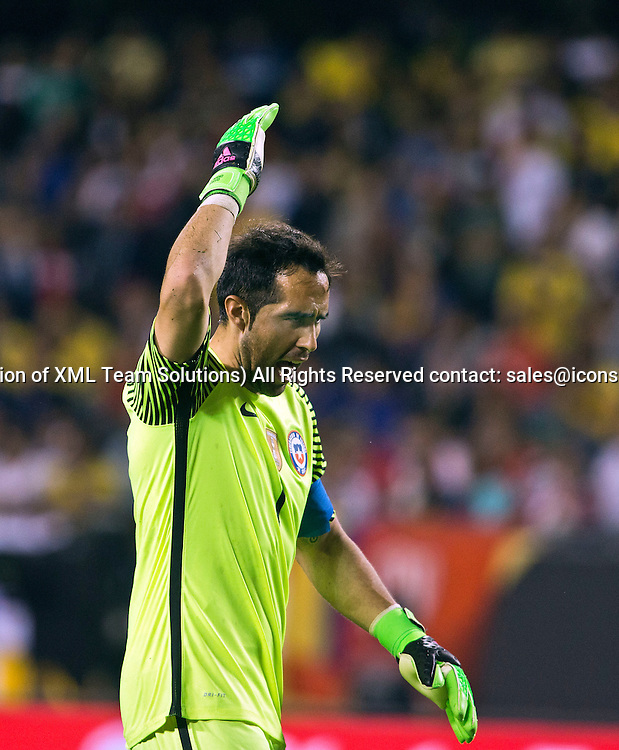 23 June 2016: Chile goalkeeper Claudio Bravo (1) reacts at the end of the Copa America Centenario Semifinal match between Colombia and Chile, at Soldier Field in Chicago, IL. Chile won 2-0 to advance to the finals to face Argentina. (Photo by Tony Ding/Icon Sportswire)