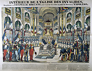 Interior of the church of Les Invalides, Paris, France, the reception the remains of Napoleon I after its return from St Helena: 15 December 1840.  19th century French popular  hand-coloured woodcut.