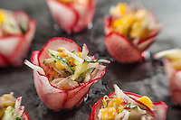 Intimate view of raw food canapes on offer at Fivelements Healing Center, Bali, Indonesia. Food photography by Djuna Ivereigh.