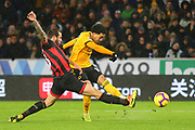 Wolverhampton Wanderers forward Helder Costa (10) shoots at goal during the Premier League match between Wolverhampton Wanderers and Bournemouth at Molineux, Wolverhampton, England on 15 December 2018.
