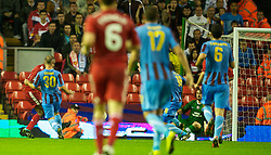 LIVERPOOL, ENGLAND - Thursday, August 19, 2010: Liverpool's Ryan Babel scores the opening goal against Trabzonspor during the UEFA Europa League Play-Off 1st Leg match at Anfield. (Pic by: David Rawcliffe/Propaganda)