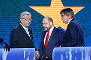 Jean-Claude JUNCKER for the European People's Party, Party, Martin SCHULZ for the Party of European Socialists and Guy<br /> VERHOFSTADT for the Alliance of<br /> Liberals and Democrats for<br /> Europe participate in the EE2014 - Eurovision debate between<br /> candidates for the Presidency of the European<br /> Commission