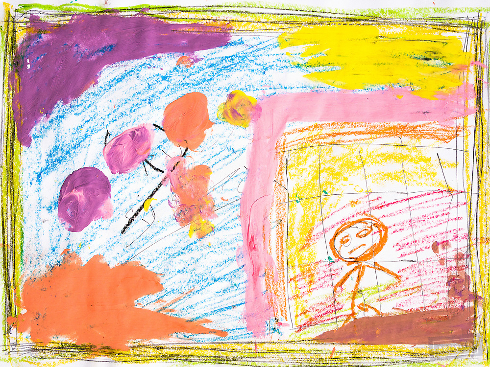 A drawing of &quot;bad things&quot; by a Syrian refugee child in the Free Syria School. The class was taught by David Gross. The exercise involved quick drawings, of 2 minutes each, in three parts.<br /> The first step was a pencil drawing. The student drew a symbolic border, then added elements that were &quot;bad things.&quot; Next, the bad things were colored, to give them &quot;life.&quot; David led the students through a fast, yogic stretching movement to add the physical experience of openness. Finally, the student painted over the bad with &quot;good things,&quot; in bright colors, giving the experience of replacing the bad with the good. The students told him that they loved the experience, especially the stretching exercise!