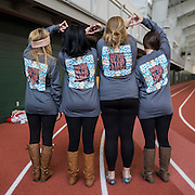 From left to right, girls from the Alpha Gamma Delta sorority Kirby Smith, Jordon Hoffman, Lilly Homan, and Kaiti Beveridge pose to show off their shirts at the Blue Circle for Diabetes event at the Walter Fieldhouse at Ohio University on Friday, November 14, 2014.