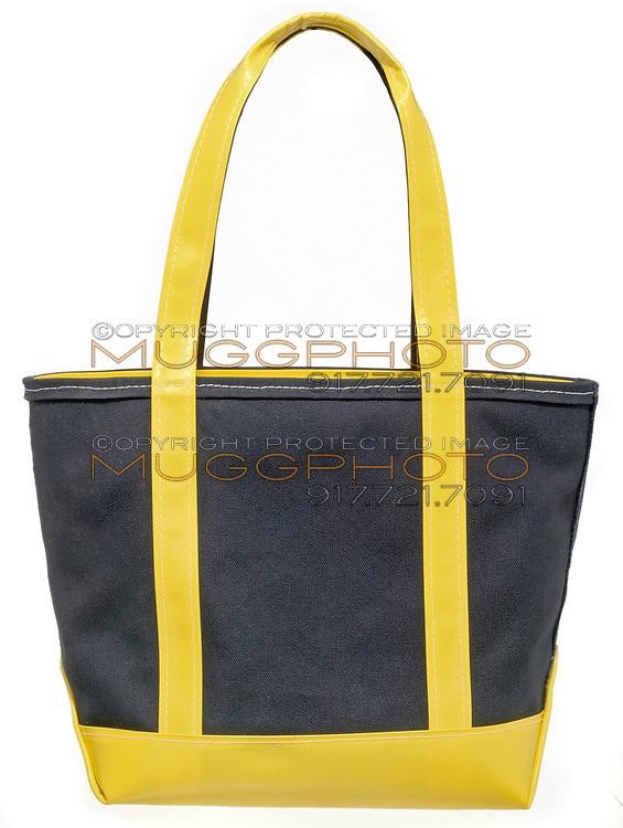 vinyl yellow and canvas blue ll bean bag