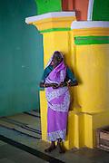 Nagore. Woman in a fine sari - intside the Dargah shrine.