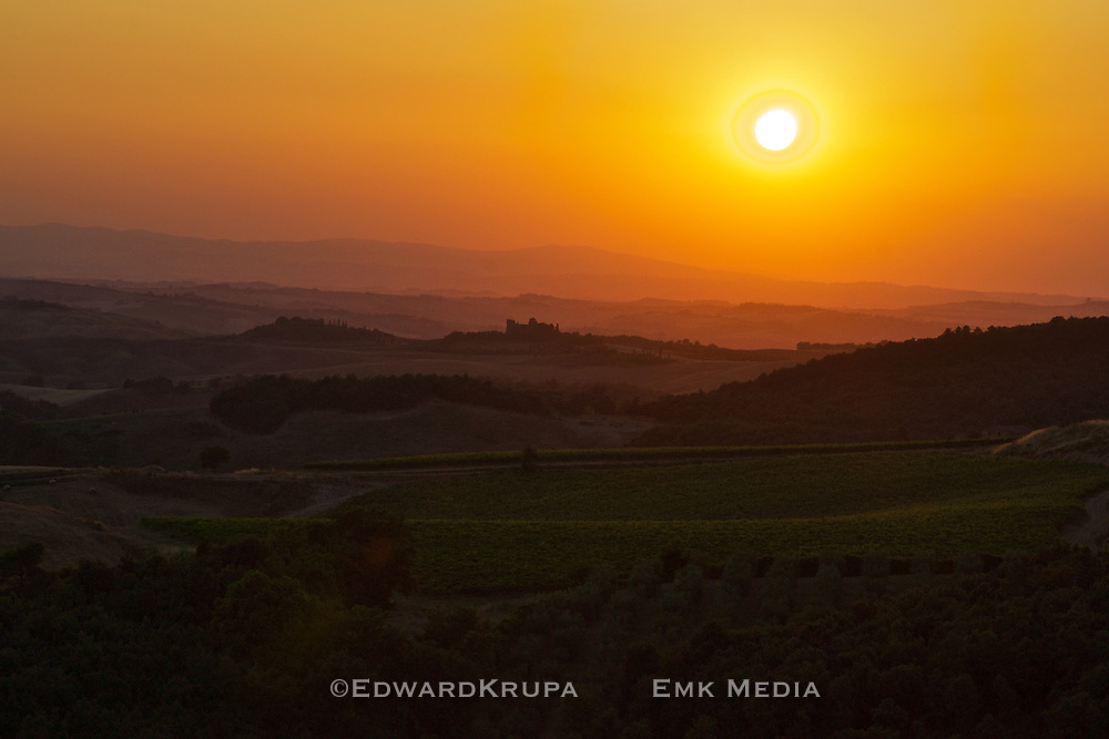 Tuscan landscape at sunset.