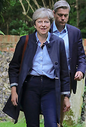 © Licensed to London News Pictures. 03/09/2017.  Prime Minister Theresa May and her husband Philip (not pictured) attend church in her constituency. Photo credit: J Almasi/LNP