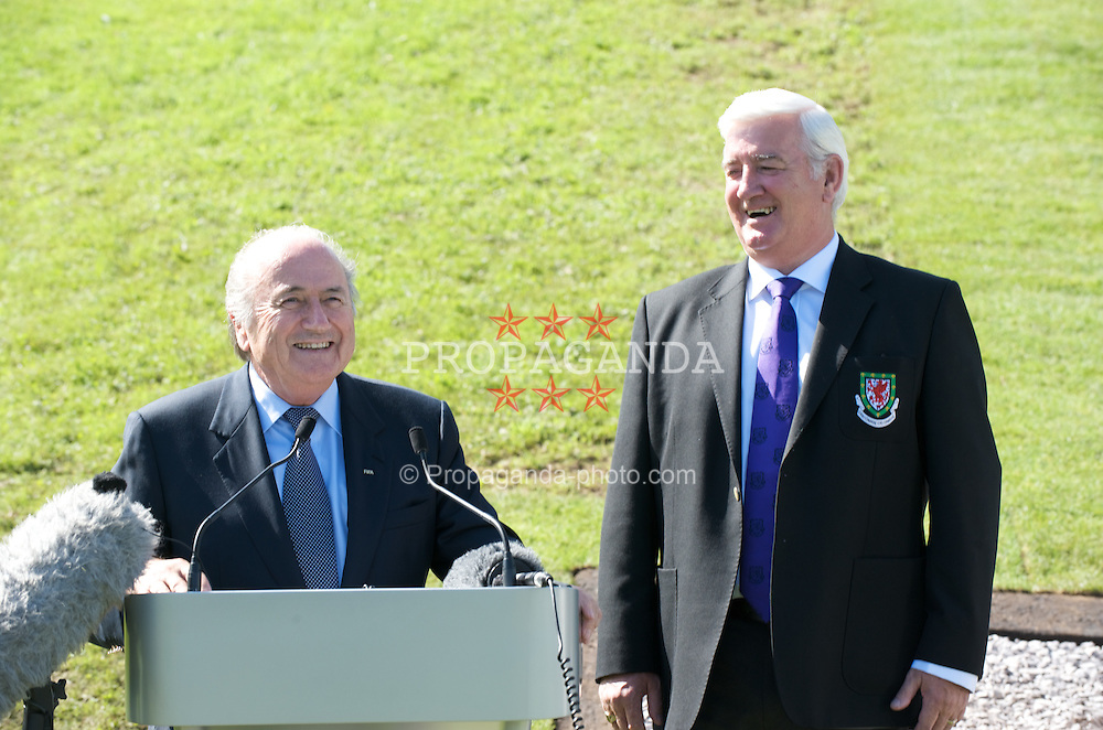 CARDIFF, WALES - Wednesday, September 9, 2009: FIFA President Joseph Sepp Blatter and Football Association of Wales President Phil Pritchard at the opening of the Wales national team training pitch ahead of the FIFA World Cup Qualifying Group 3 match against Russia. (Pic by David Rawcliffe/Propaganda)