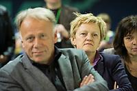27 APR 2013, BERLIN/GERMANY:<br /> Juergen Trittin (L), B90/Gruene, Fraktionsvorsitzender, und Renate Kuenast (R), B90/Gruene Fraktionsvorsitzende, waehrend der Rede von S igmar G abriel, Bundesdelegiertenkonferenz Buendnis 90 / Die Gruenen, Velodrom<br /> IMAGE: 20130427-01-112<br /> KEYWORDS: Parteitag, Bundesparteitag, BDK, party congress, Bündnis 90 / Die Grünen, B90/Gruene, B90/Grüne, Jürgen Trittin, Renate Künast