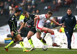 Lee Brown of Bristol Rovers tackles Callum Brittain of Milton Keynes Dons - Mandatory by-line: Robbie Stephenson/JMP - 03/03/2018 - FOOTBALL - Stadium MK - Milton Keynes, England - Milton Keynes Dons v Bristol Rovers - Sky Bet League One