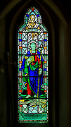 Stained glasswork window depicting Claydon church, Suffolk, England, UK c late 1940s