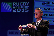 LONDON, ENGLAND - DECEMBER 03:  Bernard Lapasset the Chairman of Rugby World Cup Ltd draws South Africa during the IRB Rugby World Cup 2015 pool allocation draw at the Tate Modern on December 3, 2012 in London, England.  (Photo by David Rogers - Pool/Getty Images for IRB)