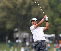 April 7, 2018 - Augusta, GA, USA - Hideki Matsuyama hits from the 1st fairway during the third round of the Masters Tournament on Saturday, April 7, 2018, at Augusta National Golf Club in Augusta, Ga. (Credit Image: © Jason Getz/TNS via ZUMA Wire)