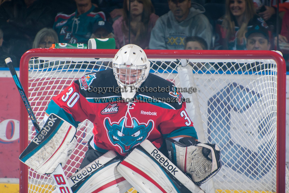 KELOWNA, CANADA - NOVEMBER 1:  Jordon Cooke #30 of the Kelowna Rockets defends the net against the Kamloops Blazers at the Kelowna Rockets on November 1, 2012 at Prospera Place in Kelowna, British Columbia, Canada (Photo by Marissa Baecker/Shoot the Breeze) *** Local Caption ***