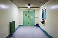 LECCE, ITALY - 10 NOVEMBER 2016: The entrance to the registration area of the male inmates of the largest penitentiary in the southern Italian region of Apulia, holding 1,004 inmates in the outskirts of Lecce, Italy, on November 10th 2016.<br /> <br /> Here a group of ten high-security female inmates and aspiring sommeliers , some of which are married to mafia mobsters or have been convicted for criminal association (crimes carrying up to to decades of jail time), are taking a course of eight lessons to learn how to taste, choose and serve local wines.<br /> <br /> The classes are part of a wide-ranging educational program to teach inmates new professional skills, as well as help them develop a bond with the region they live in.<br /> <br /> Since the 1970s, Italian norms have been providing for reeducation and a personalized approach to detention. However, the lack of funds to rehabilitate inmates, alongside the chronic overcrowding of Italian prisons, have created a reality of thousands of incarcerated men and women with little to do all day long. Especially those with a serious criminal record, experts said, need dedicated therapy and professionals who can help them.