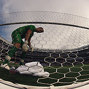 Goalkeeper Joe Hart, Manchester City,  gathers his towel from the back of the net during the Manchester City V Chelsea friendly exhibition match at Yankee Stadium, The Bronx, New York. Manchester City won the match 5-3. New York. USA. 25th May 2012. Photo Tim Clayton