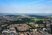 Nederland, Flevoland, Almere, 27-08-2013; Stadshart, met   Station NS (rechts beneden) en WTC. In de achtergrond het IJmeer en de skyline van Amsterdam.<br /> Heart of the newly constructed city of Almere, (right corner pic) of high-rise offices (WTC) and the railway station.  In the back the skyline of Amsterdam.<br /> luchtfoto (toeslag op standaard tarieven);<br /> aerial photo (additional fee required);<br /> copyright foto/photo Siebe Swart.