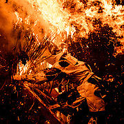 FEBRUARY 11, 2018 - Men wearing loincloths march to the sea during Toba-no-Hi-matsuri, a fire festival held annually at Toba Shinmeisha, a Shinto shrine in Nishio, Japan. <br /> <br /> The festival begins with men walking from the shrine to the sea, and standing in the ocean wearing only loincloths as part of a purification ritual.<br /> <br /> The celebration culminates with the burning of torches built from bamboo and pampas grass. The burning of the torches allows the locals to divine the year&rsquo;s weather and harvest.<br /> <br /> (Photo by Ben Weller/AFLO) (JAPAN) [UHU]