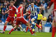Brighton player Jamie Murphy & Middlesbrough FC defender Daniel Ayala compete for possession during the Sky Bet Championship match between Brighton and Hove Albion and Middlesbrough at the American Express Community Stadium, Brighton and Hove, England on 19 December 2015. Photo by Bennett Dean.