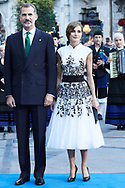King Felipe VI of Spain, Queen Letizia of Spain arrived to the Campoamor Theater for the Princess of Asturias Award 2017 ceremony on October 20, 2017 in Oviedo, Spain