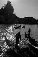 Italy. Venice.  . gondolas on Grand Canal  Venice - Italy  / gondoles sur le grand canal  Venise - Italie