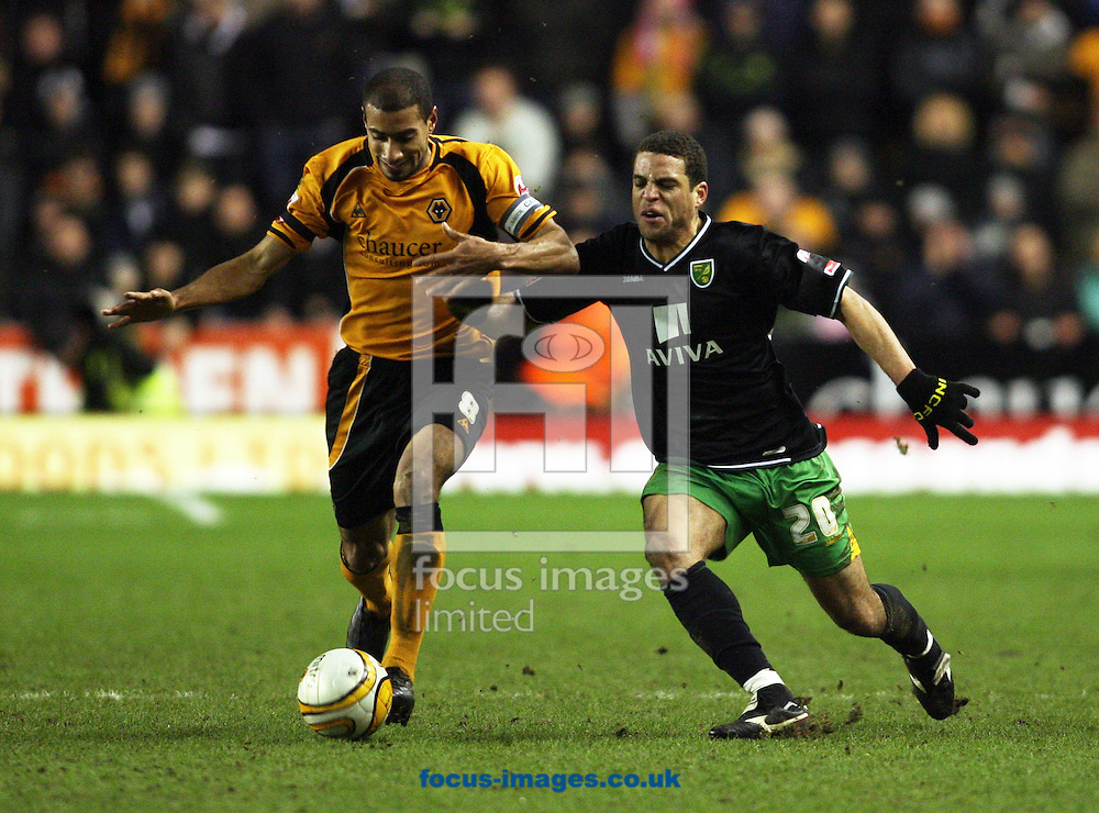 Wolverhampton - Tuesday February 3rd, 2009: Karl Henry of Wolverhampton Wanderers and Darel Russell of Norwich City during the Coca Cola Championship match at Molineaux, Wolverhampton. (Pic by Chris Ratcliffe/Focus Images)
