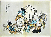 Blind Monks Examining an Elephant: Illustration of Buddhist parable where each monk reached a different conclusion depending which part of the animal he examined. Itcho Hanabusa (1652-1754), Japanese artist. Religion Buddhism