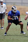 Los Angeles Rams rookie offensive tackle Joe Noteboom (70), a 3rd round pick in the 2018 NFL draft, blocks during the Los Angeles Rams NFL football camp on Monday, June 4, 2018 in Thousand Oaks, Calif. (©Paul Anthony Spinelli)