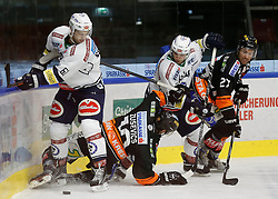 06.12.2015, Eisstadion Liebenau, Graz, AUT, EBEL, Moser Medical Graz 99ers vs EC VSV, 28. Runde, im Bild von links Rick Schofield (EC VSV), Zintis Zusevics (Moser Medical Graz 99ers), Ryan Connor McKiernan (EC VSV) und Stephen Werner (Moser Medical Graz 99ers) // during the Erste Bank Icehockey League 28th Round match between Moser Medical Graz 99ers and EC VSV at the Ice Stadium Liebenau, Graz, Austria on 2015/12/06, EXPA Pictures © 2015, PhotoCredit: EXPA/ Erwin Scheriau