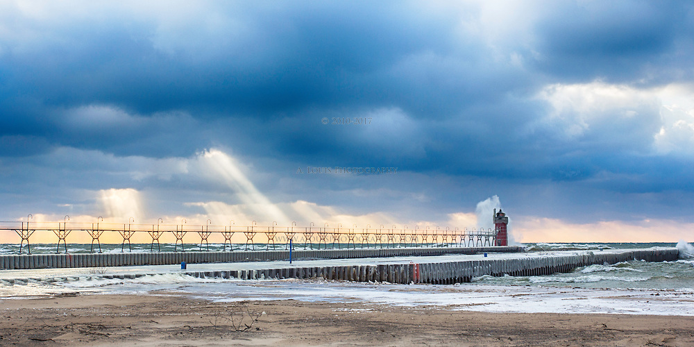 Light rays, crashing waves made for a surreal scene on North Beach in South Haven, Mi